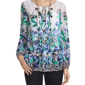 WHBM Floral/Leopard Blouse NWT